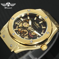 WINNER Top Brand Luxury Watch Men Automatic Mechanical Rubber Strap Skeleton Dial 3D Design Fashion Sport