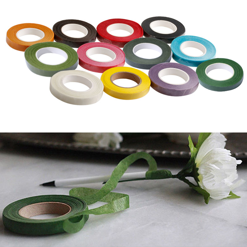 4 Rolls Floriculture Paper Tape,Floral Tape for Stem Wrap Flower Tape with 80 Pieces 14 Inch Floral Stem Wire Dark Green