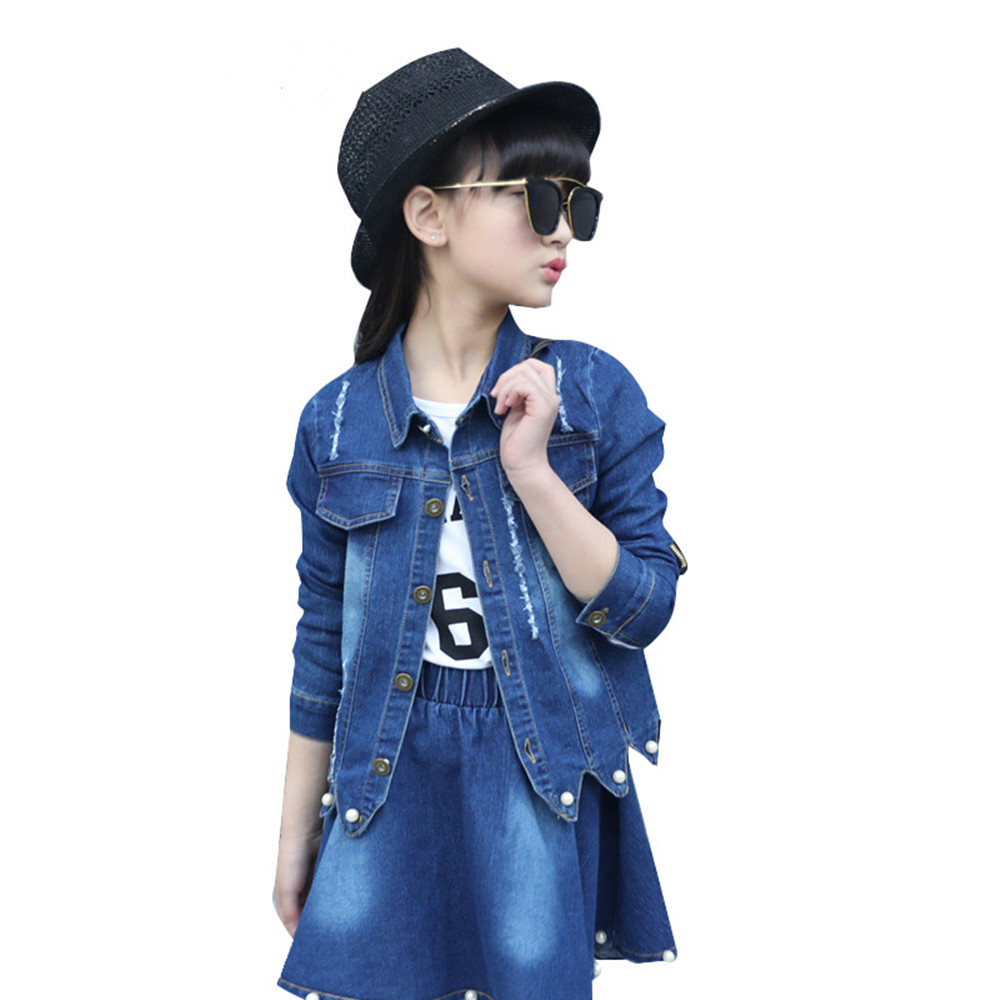 2018 Autumn Children Denim Outfits Girls Clothes Sets Pearl Patchwork Hole Jeans Jackets +Skirts 2pcs Suit Girls Clothing Sets fashion autumn girl clothing sets denim outfits girls clothes sets jeans jackets shirt patchwork dress 2pcs suits with necklace