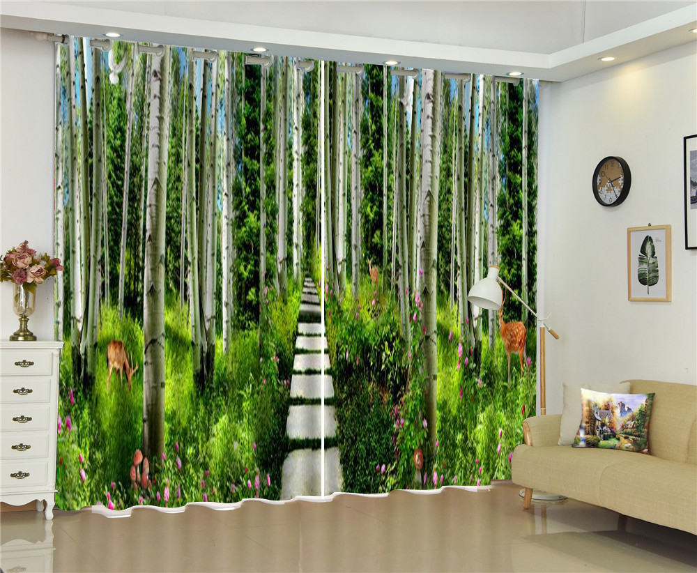 Aangepaste Gordijnen Groene Bamboe Kreek Water Pruim Herten 3d Landschap Gordijn Decoratie Indoor High End Beauty - 4