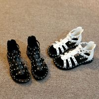 Princess New Summer Girls Sandals Hollow Kids Casual Sandals Rubber Leather Sandals Zipper Rivet Children S