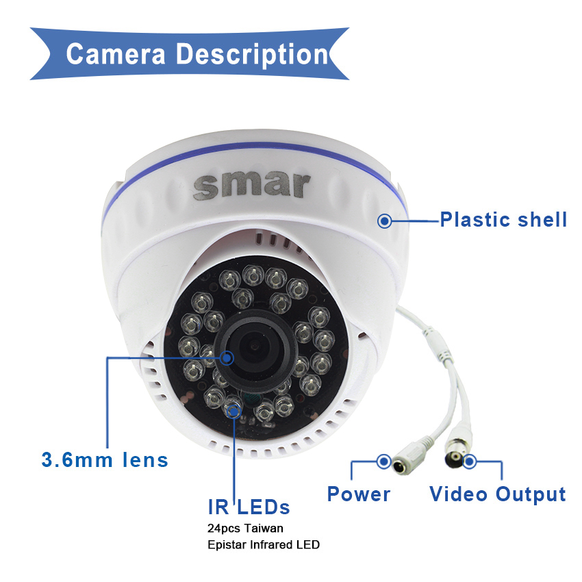 Smar 4CH 1080N 5 in 1 AHD DVR Kit 4PCS 720P/1080P IR AHD Camera Kit CCTV System Indoor Dome Security Surveillance Set