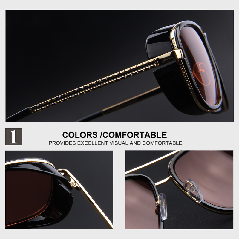 8392fa2be4a16 MERRY S IRON MAN 3 Matsuda TONY Steampunk Sun glasses Men Mirrored Designer  Brand Glasses Vintage Sun glasses