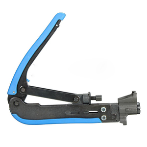 Image 2 - 2x RG6 RG59 RG11 Coax Coaxial Cable Crimper + Stripper Compression Hand Tool Blue Yellow