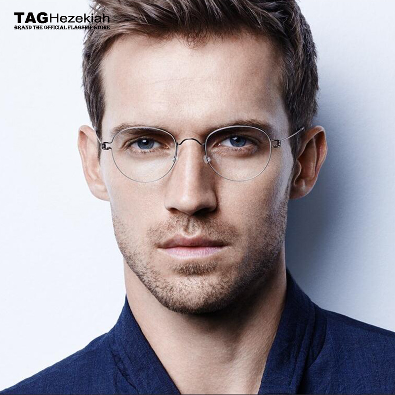 2019 TAG Brand Round Glasses Frame Men Vintage Titanium Glasses Frame Women Computer Eyeglasses Frame Women/Men's Denmark Korean