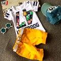Горячая Продажа! 2016 Летний Стиль Детская Одежда Наборы Детские Мальчики Девочки T Брюки Спортивный Костюм Детская Одежда