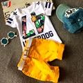 Venda quente! 2016 Estilo Verão Crianças Conjuntos de Roupas de Bebê Das Meninas Dos Meninos T Calças Terno Dos Esportes Roupa Dos Miúdos
