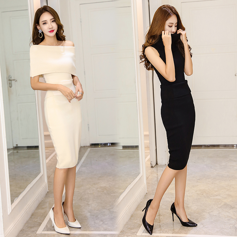 d009b7e4ee35a Detail Feedback Questions about Autumn 2 Two Piece Set Sleeveless  Turtleneck Knitted Sweater and Hip Packaged Skirt Suits Elastic Waist Skirts  Warm ...