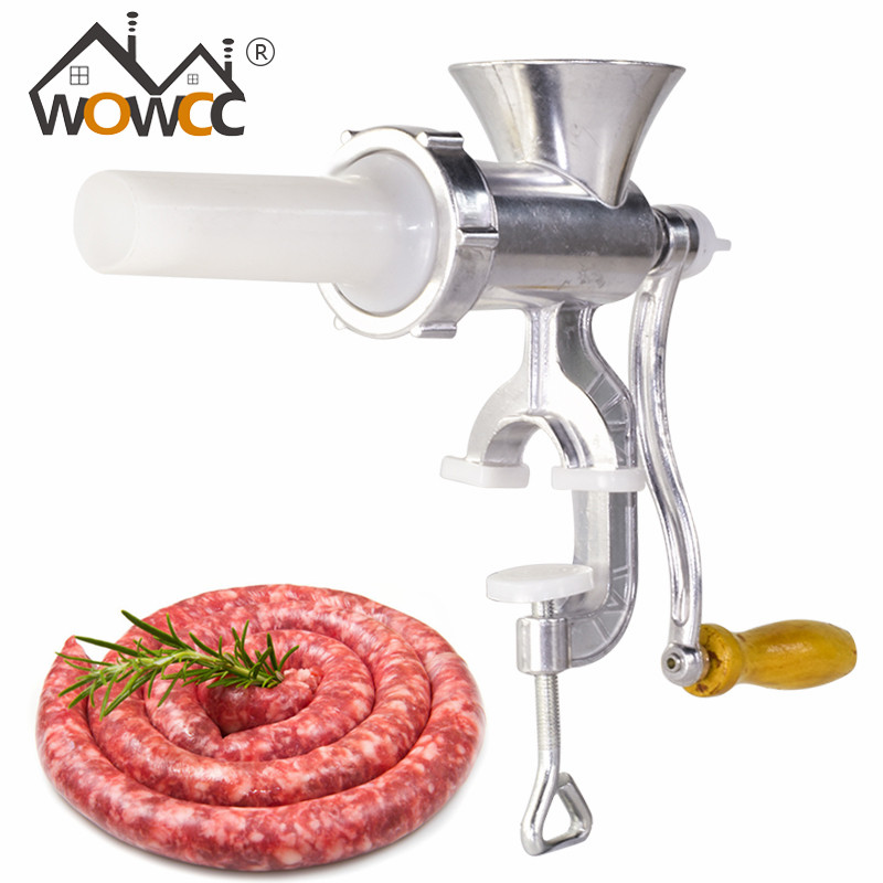 WOWCC Multifunctional meat grinder Sausage maker Aluminum alloy household manual sausage filler Table Hand Crank Kitchen Tools