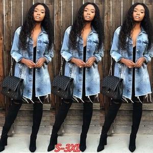 Image 2 - נשים Ripped חור ג ינס מעיל 2018 החבר רוח ז אן מעיל רופף ארוך שרוול מעילים בתוספת גודל 3XL מפציץ מעיל האביב סתיו