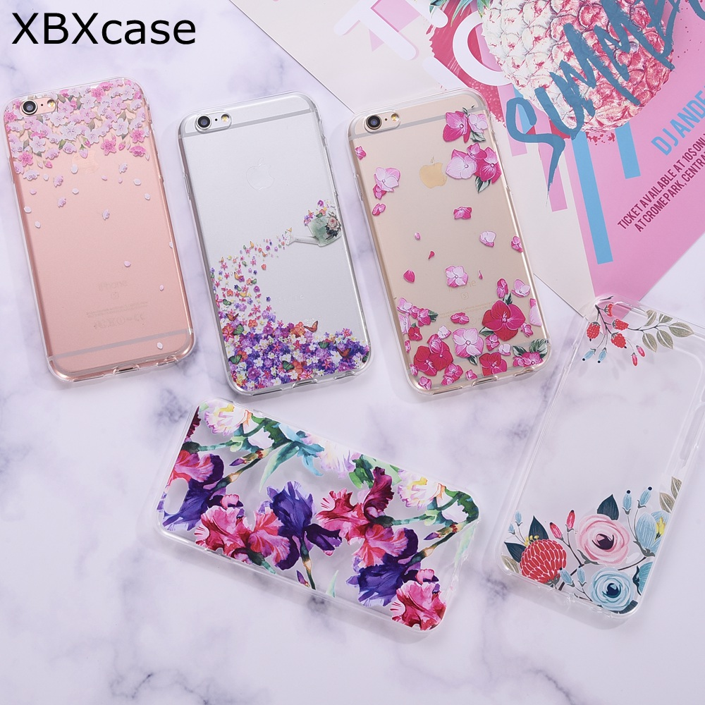 XBXCase Iris Peony Flower Case for iPhone 6 6S 7 8 Plus 5 5S SE Coque TPU Silicone Transparent Soft Floral Cover for iPhone X