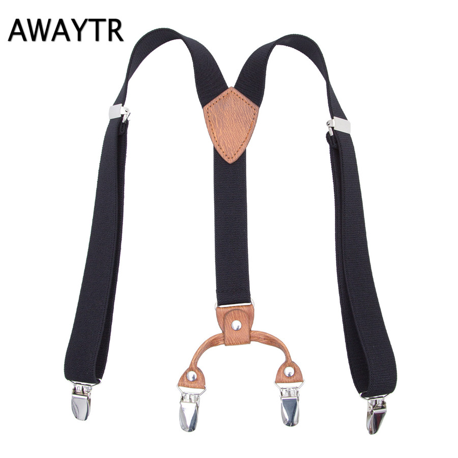 AWAYTR Large Size Suspensorio for Children Navy Blue/Black/Purple Braces Elastic Suspenders Four Clips Strapless Pant Child Boy