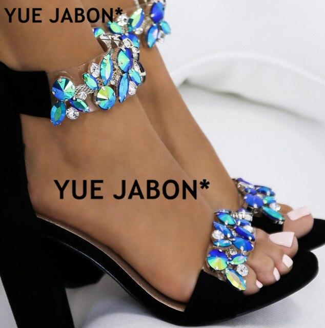 8267527c4 Luxury Crystal Thick Heel Sandals Brand Design Sexy Bling Rhinestone High  Heel Women Sandals Elegant Party Shoes gladiator