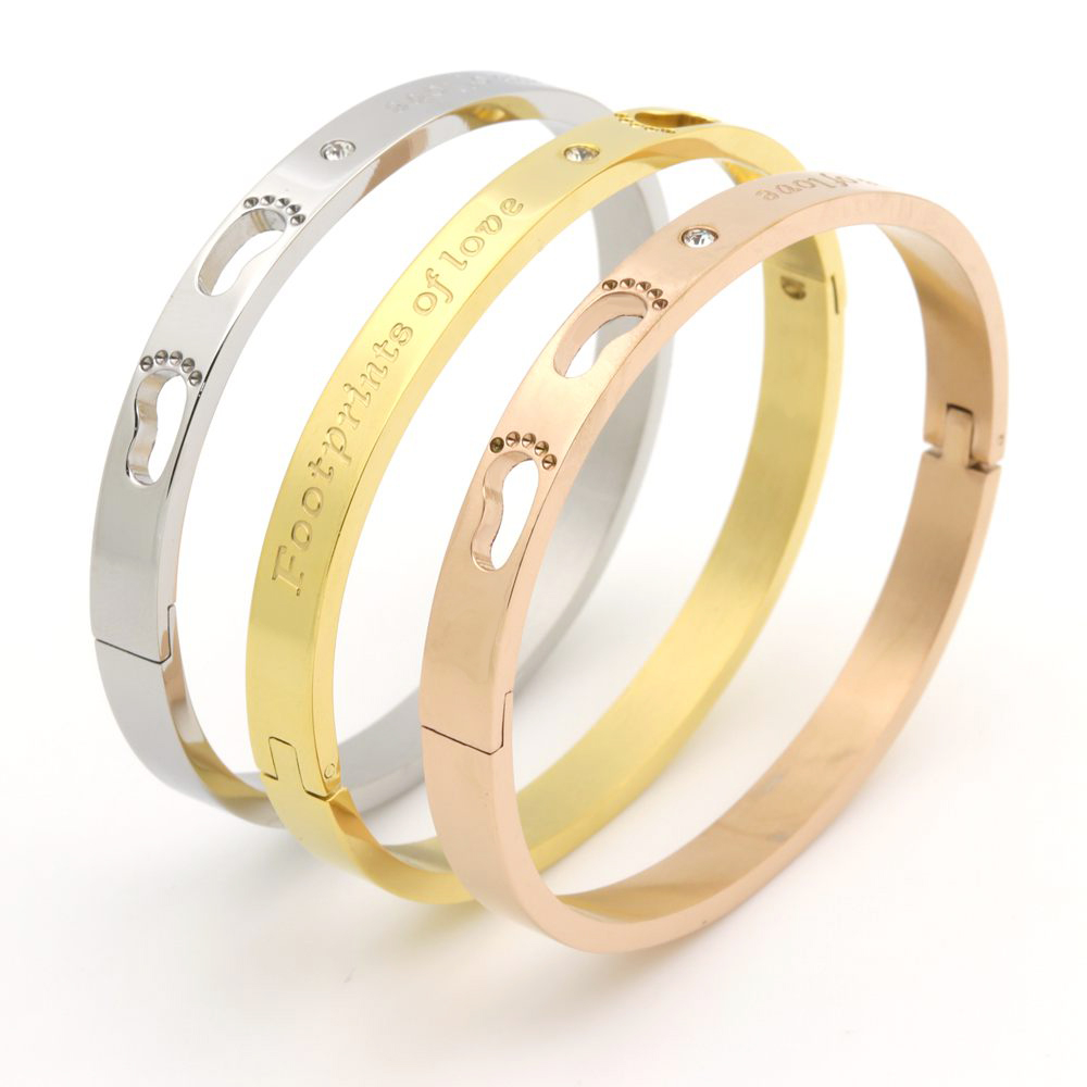 New Fashion Jewelry Bracelet Stainless Steel Love Crystal Bangles Sweet Romantic Design Gold Colour Bracelet For Women
