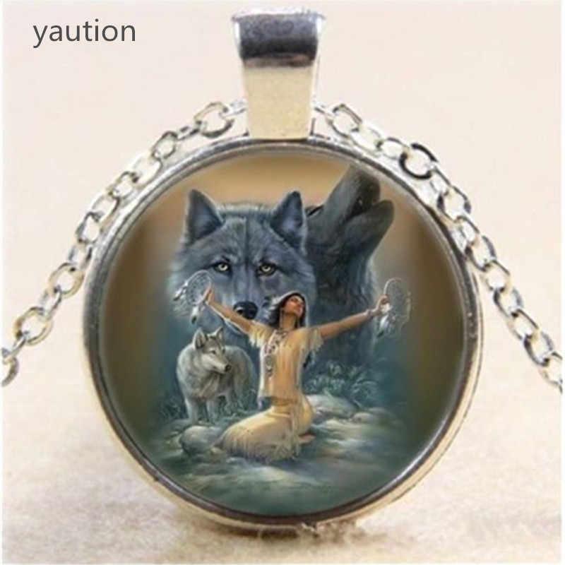 1 CÁI Wolf Cabochon Glass Vòng Cổ Mặt Dây Chuyền mạ bạc Chuỗi Vòng Cổ