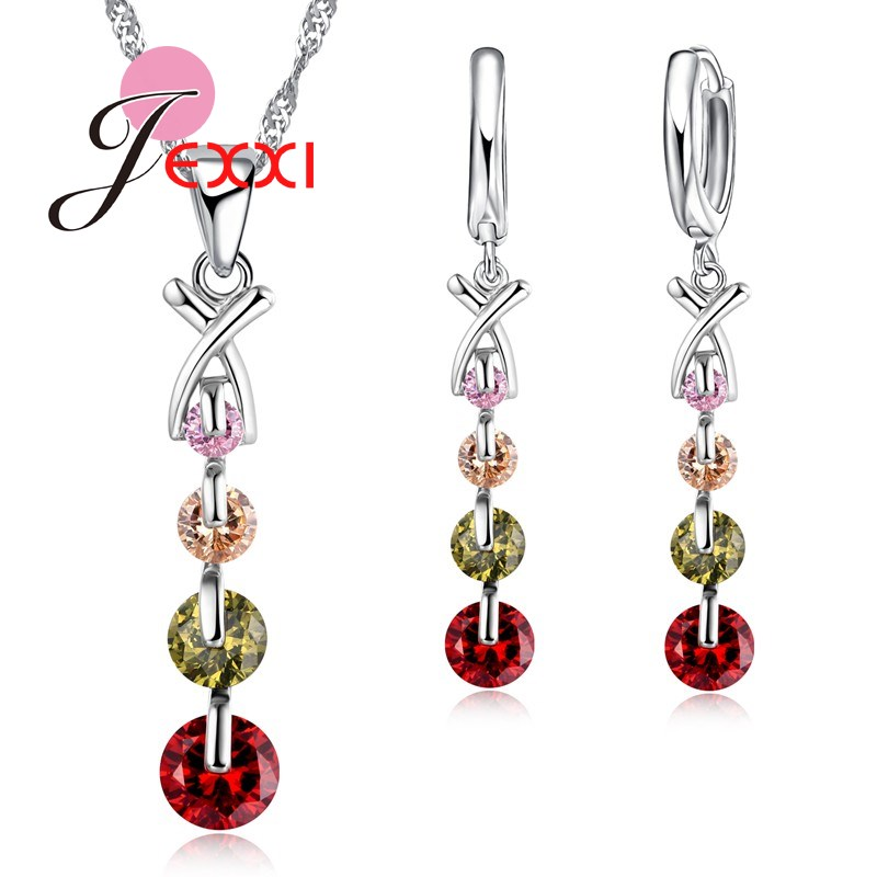 Simple Culourful Clear Crystal Long Tassl Drop Pendant Necklace Earrings for Women Bridal 925 Sterling Silver Jewelry SetsSimple Culourful Clear Crystal Long Tassl Drop Pendant Necklace Earrings for Women Bridal 925 Sterling Silver Jewelry Sets