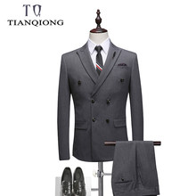 Double Breasted Suit Men 2019 New Men's Suits with Pants and Vest Gray Wedding Groom Tuxedo 3 Piece Suit Mens Formal Wear(China)
