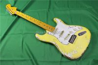 Classical relic st electric guitar,big headstock, double color finish.handmade aged details