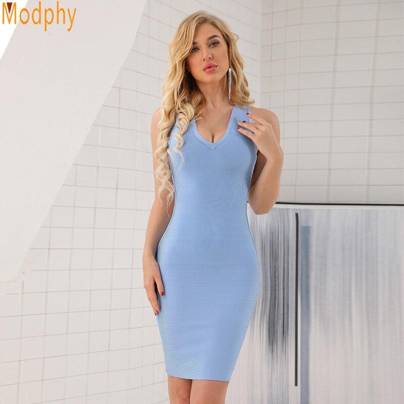 Modphy Top qualité HL bleu clair dos nu col en v rayonne Bandage robe dames robe de soirée de Cocktail HL474
