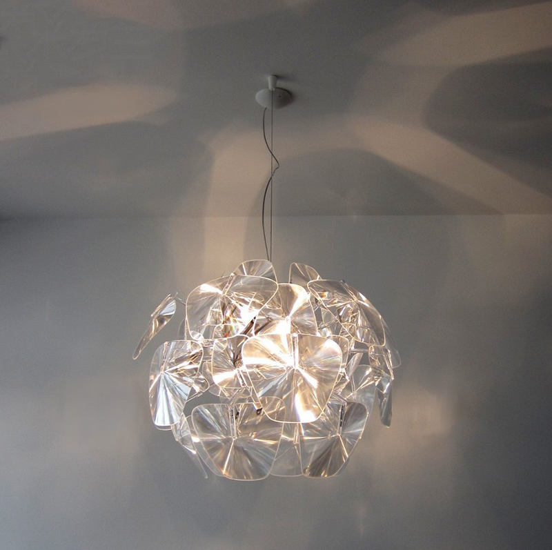 Modern brief arylic pineal pendant light fixture norbic home deco living room clear acrylic pendant lamp furnishings brief modern k9 crystal flower pendant light fixture european fashion home deco living room diy glass pendant lamp