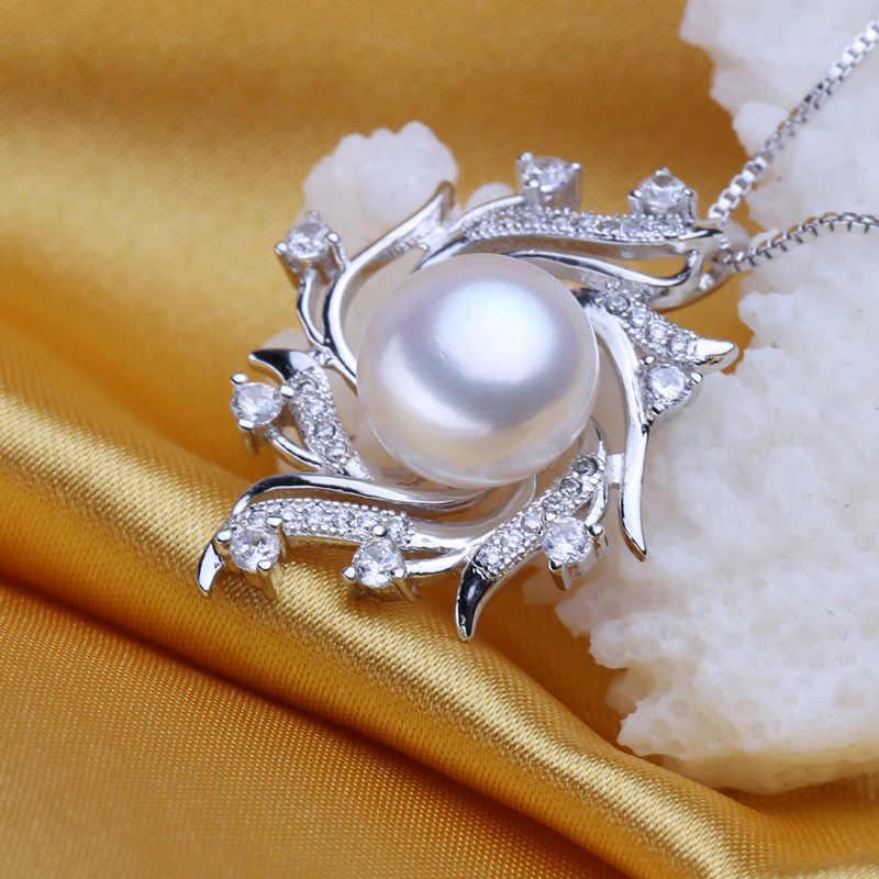 FENASY collar de perlas de agua dulce delicado colgante de moda 925 plata esterlina Boho declaración collar de cadena con flor perla joyería