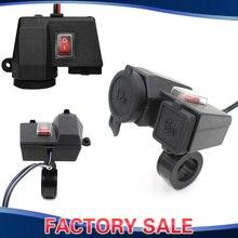 Étanche Smart 5 V/2.1A Dual USB Sortie Moto Guidon Clamp Puissance Adaptateur Chargeur USB De Charge Système avec Interrupteur