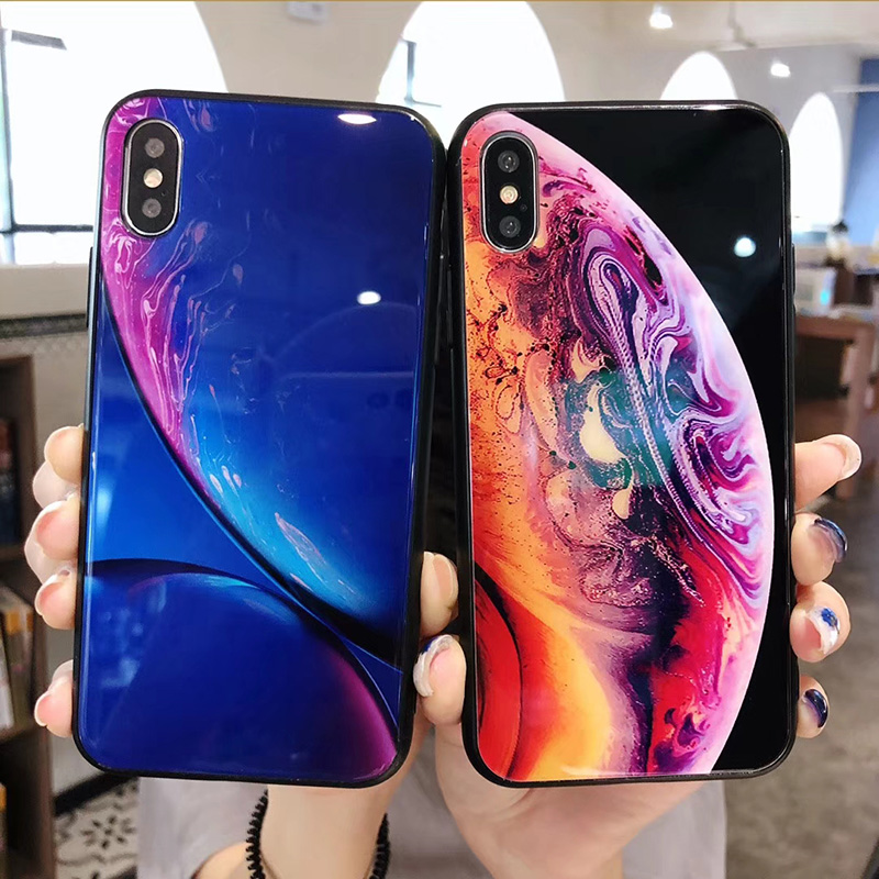 New For iPhone X XS Max XR Wallpaper Planet Tempered Glass Case Fundas for iPhone  8 7 6 6S Plus Luxury Cover Hoesjes 37aa968b04bf