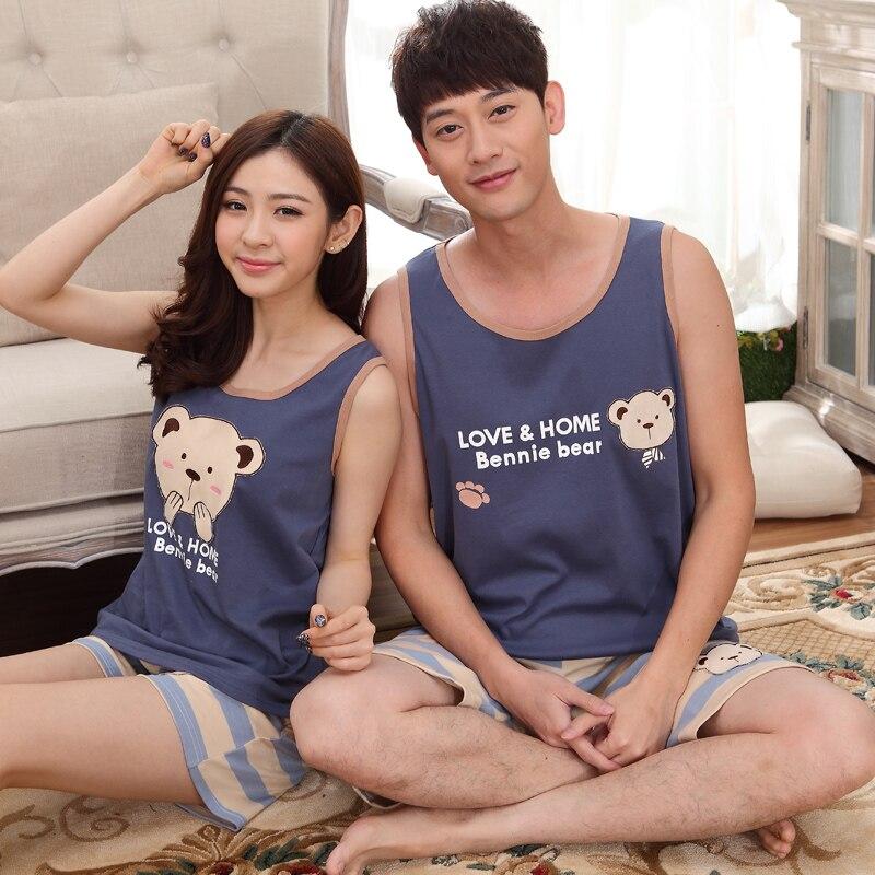 Summer New Cotton Women's   Pajama     Sets   Cartoon Bear Sleepwear Girl Mujer Pijama Feminino   Pajamas   Pyjamas Pyjamas Striped Pants