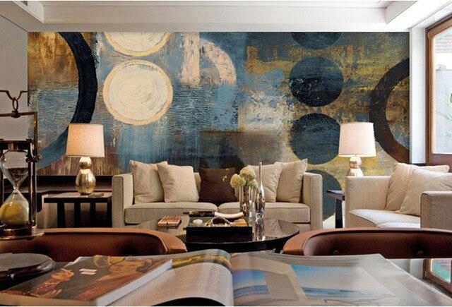 Retro Art Woonkamer : Custom grote muurschilderingen cirkel art retro behang hotel