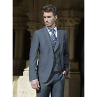 Custom Made One Button смокинг жениха серый подходит для свадьбы и некоторые важные события Наборы мужские (куртка + Брюки для девочек + жилет)