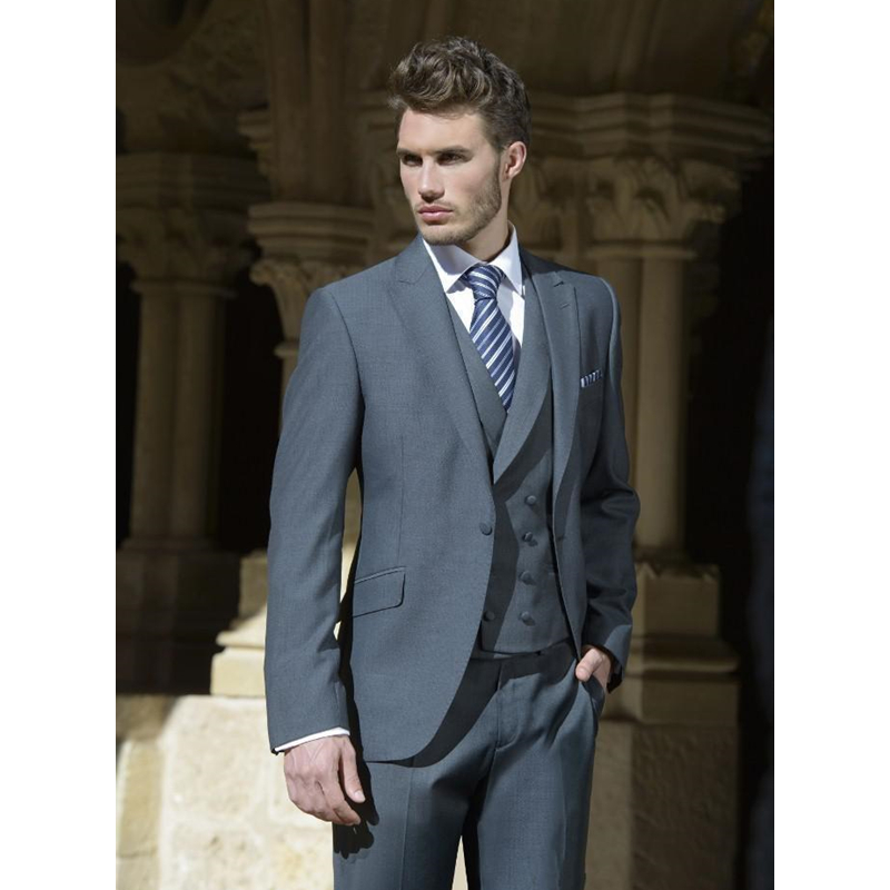 Custom made one button groom tuxedos grey suitable for wedding and some important occasions Men's Sets (Jacket+Pants+Vest)