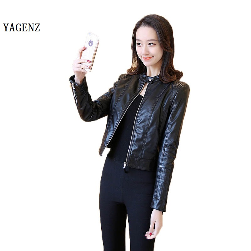 Autumn Motorcycle Jacket PU Lady Small Leather Sexy Women Leather Jacket Coat Slim Short Paragraph Diagonal Zipper Outerwear