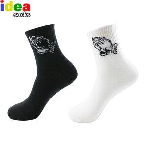 Mens Brand White Long Socks Jesus Christ Pray Mercy Hands Skateboard Hip Hop Basket Skateboard Men Cotton Preach Black Sock(China)