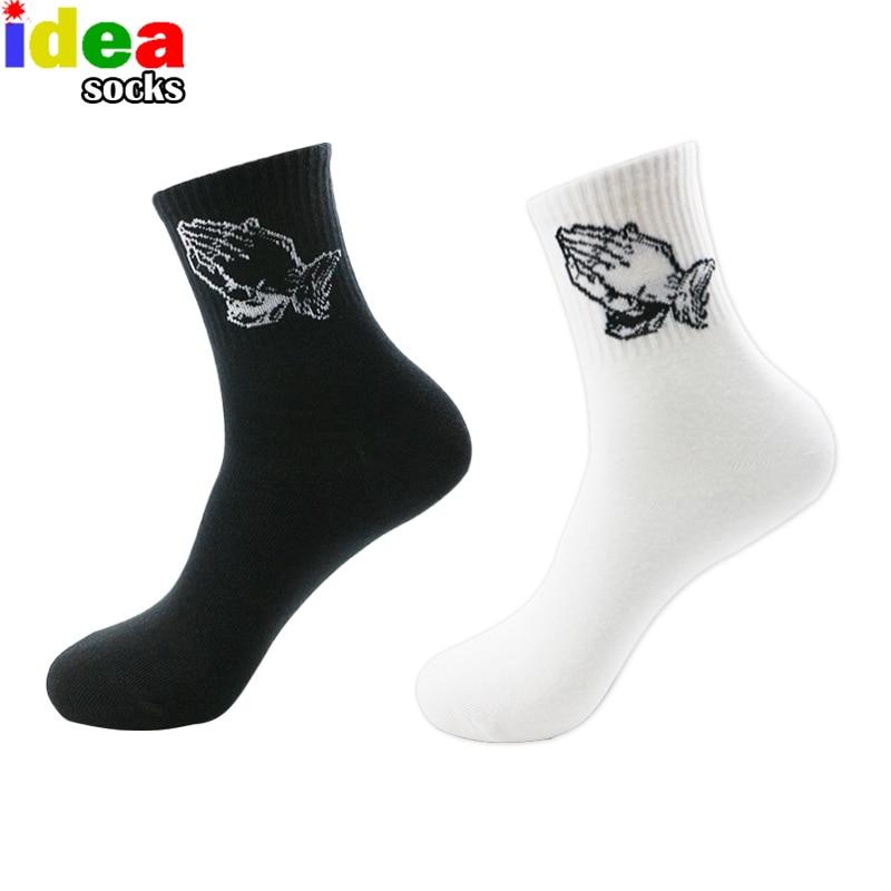 Calcetines largos blancos de marca para hombre Jesucristo reza Mercy Hands Skateboard Hip Hop Basket Skateboard Hombres Cotton Preach Black Sock