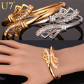 U7 Vintage Cuff Bracelet Gold Plated Rhinestone Fashion Women Men Jewelry Bracelet Bangle H600