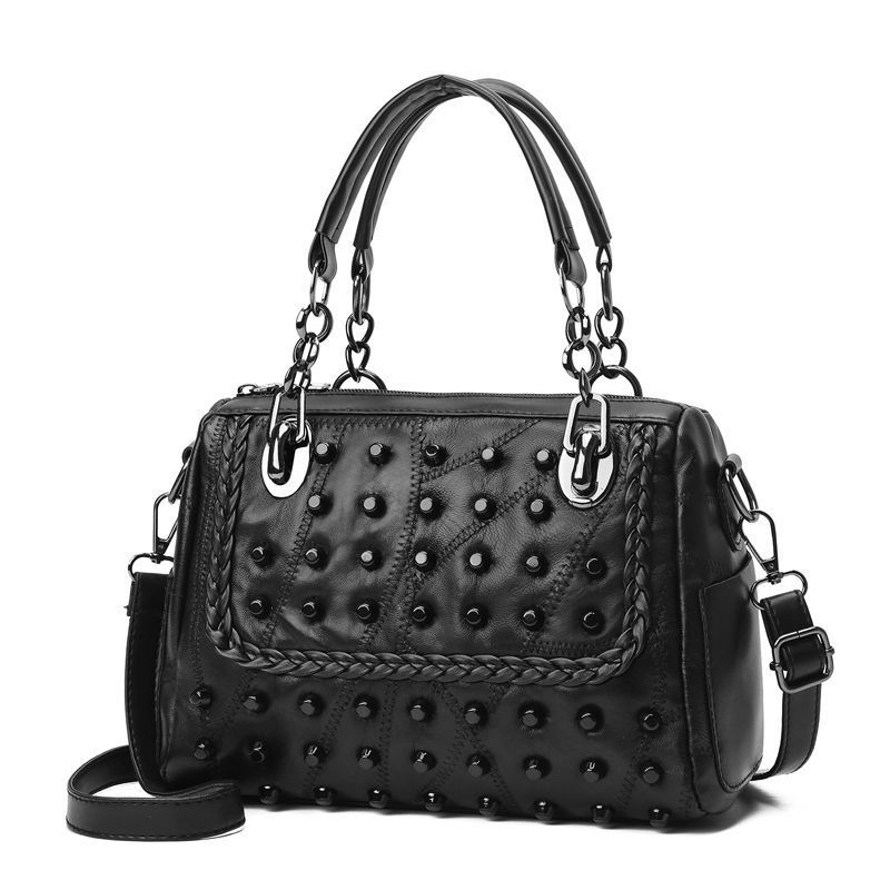 Handbags Boston Chain Tote-Bag Main Femme Women Ladies Rivet For Sac S33 Bolsos