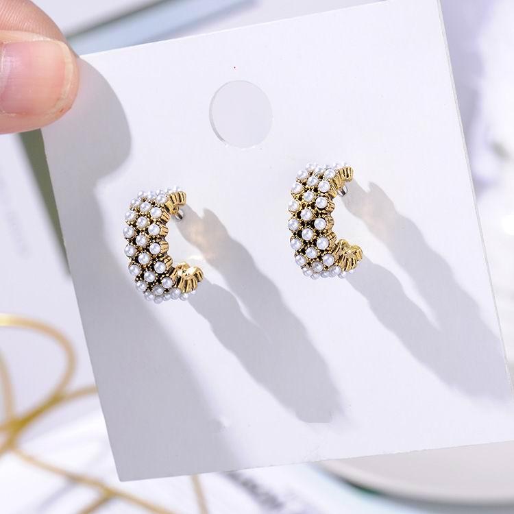 MENGJIQIAO, новинка,, винтажные цветные стразы, маленькие серьги-кольца для женщин, модные, имитация жемчуга, полукруг, Pendientes - Окраска металла: 3 line same pearl