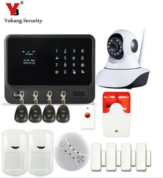 GSM WIFI Burglar Alarm System Security Home APP Control Panic Button Smoke Detector WIFI IP HD Camera Wireless Flash Siren