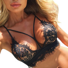 f2e096ed5f (Ship from US) Feitong 5XL plus size bandage bralette lace bra Women sexy  transparent push up lingerie bras Ladies seamless backless black tops