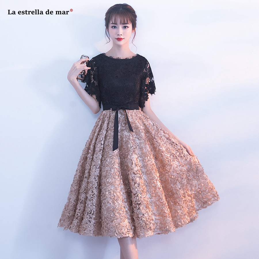 Robe cocktail2018 new lace stitching bat sleeve a Line gold black   cocktail     dresses   Tea vestidos de coctel elegantes cheap prom