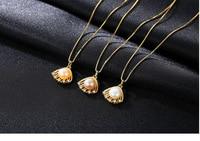 S925 Sterling Silver Scallops Pearl Pendant Elegant Women's Jewelry Accessories GW31
