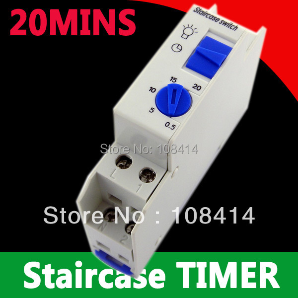 20 Minutes Staircase Lighting Timer Switch 220VAC DIN rail mounted, Free shipping 2pcs lot brand new sul 181d analog 24 hours mechanical din rail timer switch 15minutes