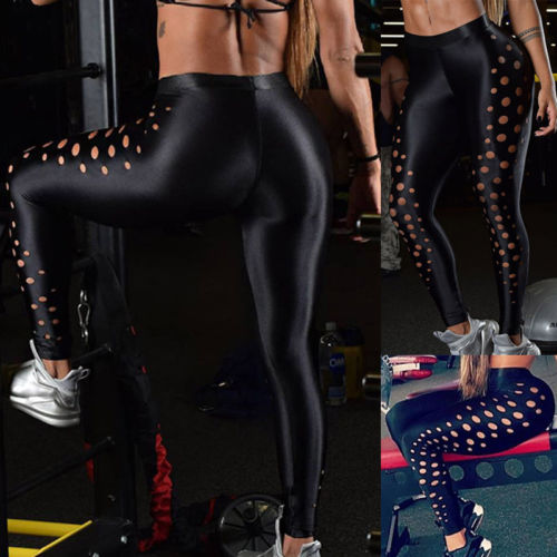 Women Fitness Black Hollow Dot Solid Slim Long Leggings Jumpsuit Sexy