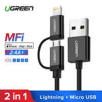 Ugreen USB Cable For iPhone XS X 8 7 6 Charging Charger 2 in 1 Micro USB Cable For Android USB Type c Type-c Mobile Phone Cables