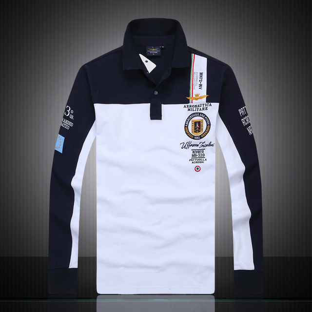 Top Quality cotton Famous brand aeronautica militare long sleeve polo shirt men air force 1 embroidery casual polo-shirt  A.M.