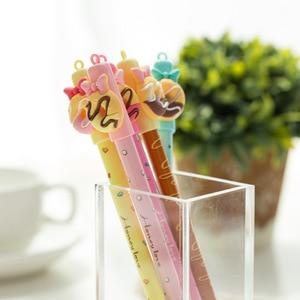 Image 4 - 30 pcs/Lot Candy color gel pen Sweet donut bowtie 0.5mm ballpoint Blue color pens Kawaii gifts School Canetas escolar FB438