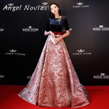 Ангел Novias длинные красные Ковры знаменитости платье 2018 этаж Длина платье для выпускного вечера