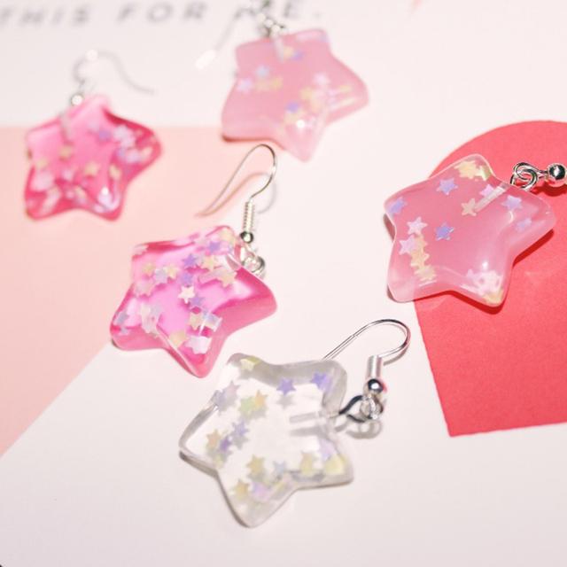 Kawaii Star Shaped Earrings with Glitters