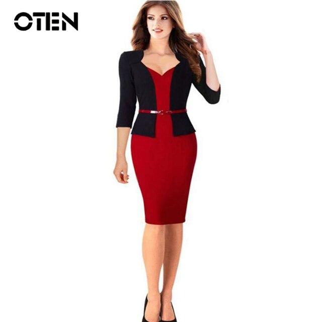 Oten 2017 New 3 4 Sleeve Fashion British Style Office Clothing Women Tunic Formal Dresses