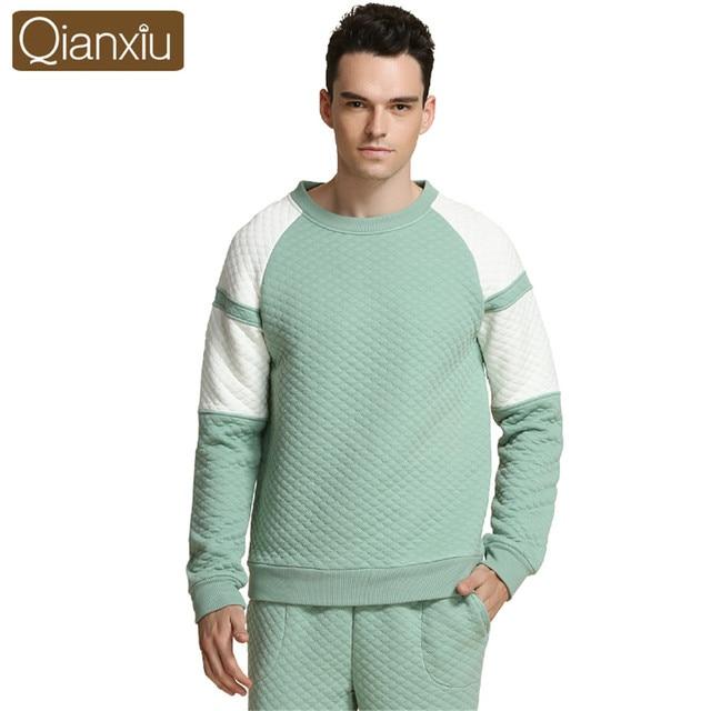 Qianxiu New winter Men's pajamas Set Night long-sleeve o-Neck quilted lovers homewear couples matching adult minion pajamas sets